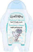 """Profumi e cosmetici Shampoo-gel doccia per bambini """"Mirtillo e Aloe Vera"""" - Bluxcosmetics Naturaphy Hair & Body Wash"""