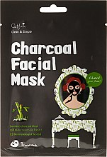 Profumi e cosmetici Maschera in tessuto, con carbone di bambù - Cettua Charcoal Facial Mask