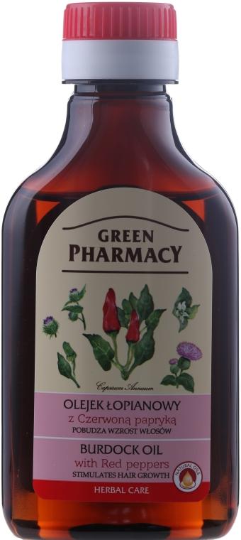 Olio di bardana con pepe rosso per la crescita dei capelli - Green Pharmacy