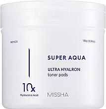 Profumi e cosmetici Cuscinetti idratanti con complesso di acido ialuronico - Missha Super Aqua Ultra Hyalron Toner Pads