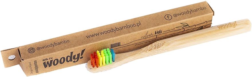 "Spazzolino da denti per bambini ""Colour"" in bambù, setole colorate - WoodyBamboo Bamboo Toothbrush Kids Soft/Medium"