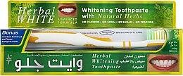 """Profumi e cosmetici Set """"Erbe"""" con spazzolino bianco-giallo - White Glo Herbal White (t/paste/100ml + t/brush/1)"""