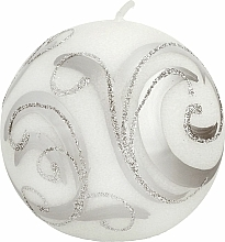 Profumi e cosmetici Candela decorativa, palla, bianca con decorazione, 8 cm - Artman Christmas Ornament