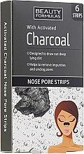 Profumi e cosmetici Cerotti per la rimozione dei punti neri dal naso, al carbone attivo - Beauty Formulas With Activated Charcoal Nose Pore Strips