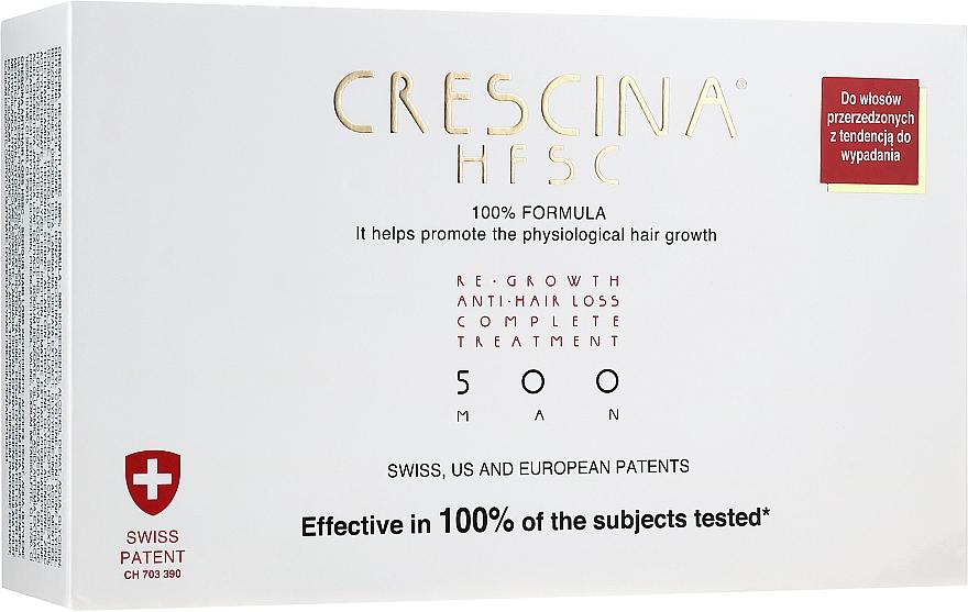 Corso completo rinforzante anticaduta dei capelli, 500, per uomo - Crescina Re-Growth HFSC 100% + Crescina Anti-Hair Loss HSSC