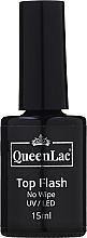 Profumi e cosmetici Top per smalto gel - QueenLac Top Flash No Wipe UV/LED