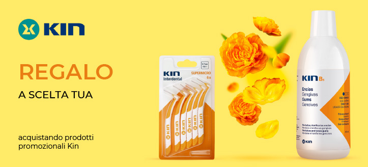 Acquistando prodotti promozionali Kin, ricevi in regalo a scelta tua: uno spazzolino da denti o uno interdentale