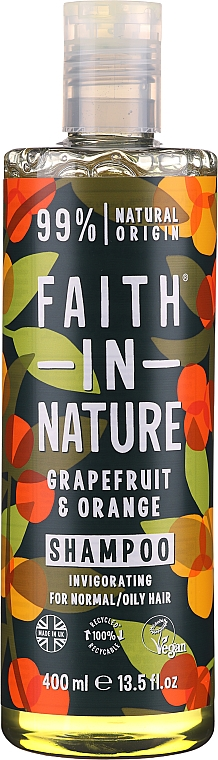 """Shampoo per capelli normali e grassi """"Pompelmo e Arancia"""" - Faith In Nature Grapefruit & Orange Shampoo"""