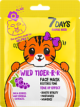 Profumi e cosmetici Maschera viso - 7 Days Animal Wild Tiger-r-r Face Mask