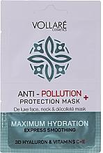 """Profumi e cosmetici Maschera viso """"Acido ialuronico idratante + vitamine C ed E"""" - Vollare Anti-Pollution Protection Mask"""