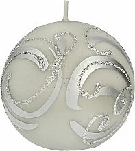 Profumi e cosmetici Candela decorativa, palla, grigia con decorazione, 8 cm - Artman Christmas Ornament