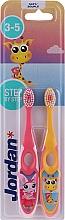 Profumi e cosmetici Spazzolino da denti per bambini, 3-5 anni giallo + rosa - Jordan Step By Step Soft Clean