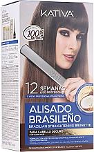 Profumi e cosmetici Set per il trattamento alla cheratina, per le brune - Kativa Alisado Brasileno Straighten Brunette (shm/15ml + mask/150ml + shm/30ml + cond/30ml + brush/1pcs + gloves/1pcs)