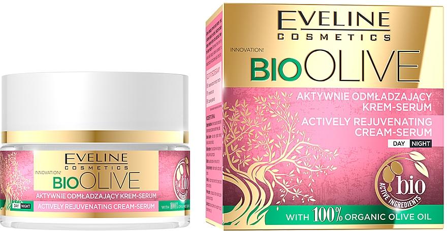 Crema-siero viso attivamente ringiovanente - Eveline Cosmetics Bio Olive Actively Rejuvenating Cream-serum