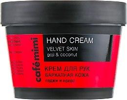 """Profumi e cosmetici Crema mani """"Pelle di velluto"""" goji e cocco - Cafe Mimi Hand Cream Velvet Skin"""