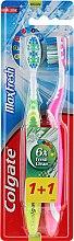 """Profumi e cosmetici Set di spazzolini da denti medio """"Max Fresh"""", verde e rosa - Colgate Max Fresh Medium (2 szt.)"""