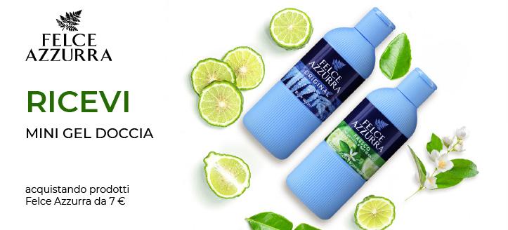 Acquistando prodotti Felce Azzura da 7 €, ricevi in regalo un mini gel doccia