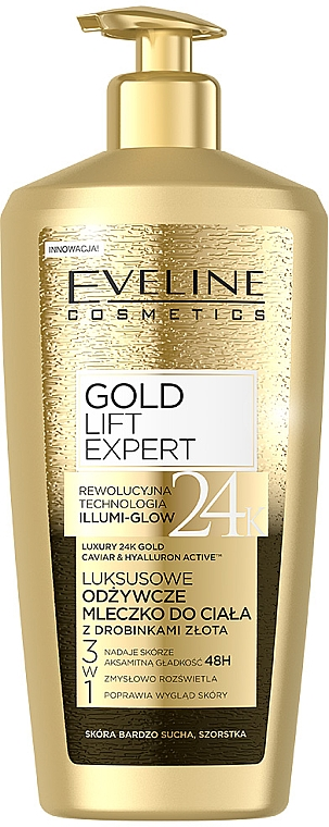 Latte corpo, con particelle d'oro - Eveline Cosmetics Gold Lift Expert 24K