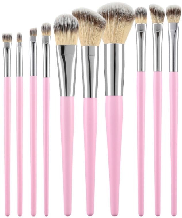 Set di pennelli per trucco professionale, 10 pezzi, rosa - Tools For Beauty