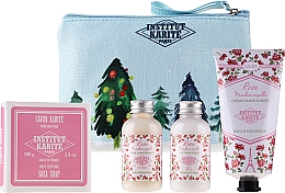 Profumi e cosmetici Set - Institut Karite Rose Mademoiselle (sh/gel/50ml + b/milk/50ml + h/cr/75ml + soap/100g)