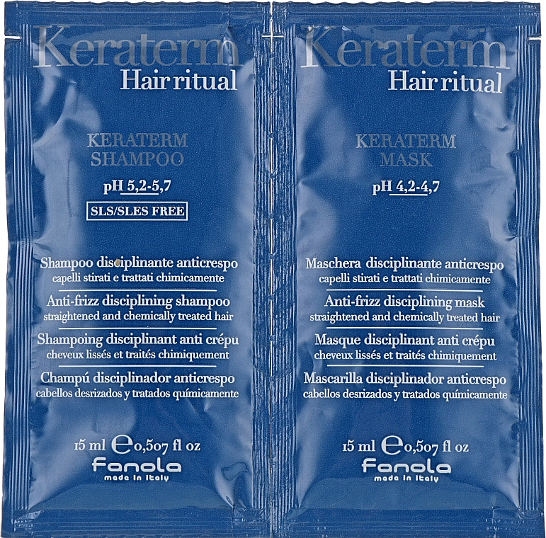 Set di campioncini per la ricostruzione dei capelli danneggiati - Fanola Keraterm (shmp/15ml + mask/15ml)