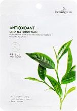 Profumi e cosmetici Maschera di tessuto con estratto di tè verde - Beauugreen Antioxidant Green Tea Essence Mask