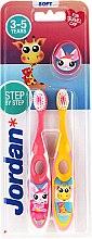Profumi e cosmetici Spazzolino da denti per bambini, 3-5 anni, rosa + giallo - Jordan Step By Step Soft Clean