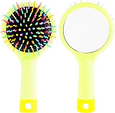 Profumi e cosmetici Spazzola per capelli, con specchio, verde chiaro - Twish Handy Hair Brush with Mirror Spring Bud