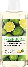 """Profumi e cosmetici Olio per cura e massaggio """"Lime e Zenzero + olio di Argan """""""" - Fresh Juice Energy Lime&Ginger+Argan Oil"""