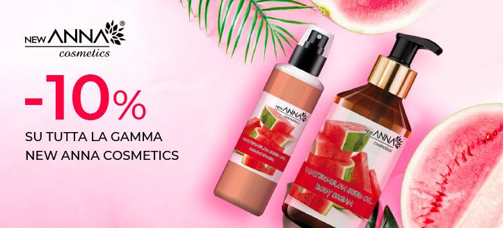 Sconto 10% su tutta la gamma New Anna Cosmetics. I prezzi sul nostro sito comprendono gli sconti