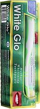 Profumi e cosmetici Set con spazzolino bianco-verde - White Glo Herbal White (t/paste/100ml + t/brush/1pc)