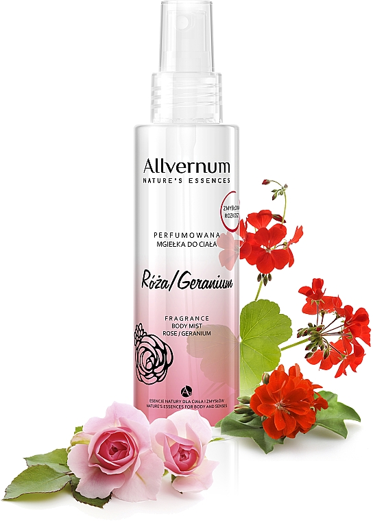 """Spray corpo profumato """"Rosa e geranio"""" - Allverne Nature's Essences Body Mist"""