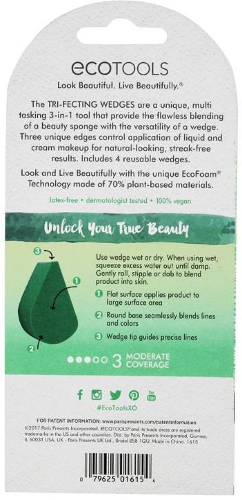 Set di spugne per trucco - EcoTools Tri-Fecting Wedges per Liquid & Cream Makeup (4pz) — foto N3