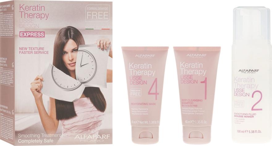 Set per trattamento lisciante alla cheratina - Alfaparf Milano Lisse Design Keratin Therapy Smoothing Treatment Kit (shmp/40ml + moose/100ml + hair/mask/40ml)