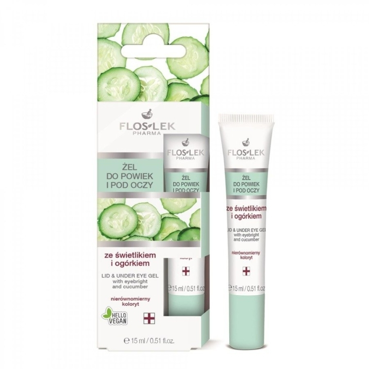 Gel contorno occhi con euforbia e cetriolo - Floslek Lid And Under Eye Gel With Eyebright & Cucumber