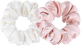 "Profumi e cosmetici Set elastici in seta naturale ""Midi"" - Makeup Scrunchie Set Milk Powder"