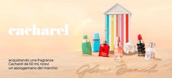 Ricevi un asciugamano del marchio in regalo, acquistando una fragranza Cacharel da 50 ml
