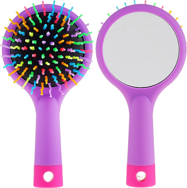 Spazzola per capelli con specchio, viola - Twish Handy Hair Brush with Mirror Lavender Floral