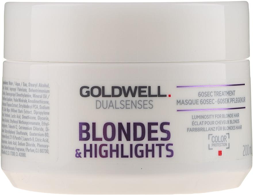 Maschera per capelli decolorati - Goldwell Dualsenses Blondes & Highlights 60sec Treatment