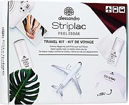 Profumi e cosmetici Set - Alessandro International Striplac Peel Or Soak Travel Kit (n/cleaner/15ml + top/coat/5ml + cotton/pads/20pcs + led/lamp)