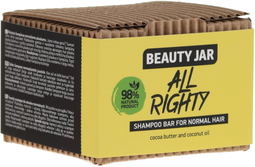 Shampoo solido per capelli normali con cocco e burro di cacao - Beauty Jar Hair Care All Righty Shampoo