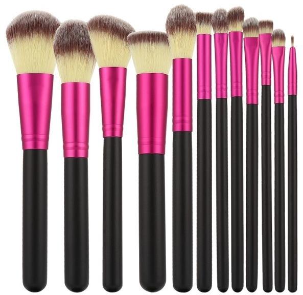 Set di pennelli professionali per trucco, 12 pezzi, rosa con il nero - Tools For Beauty