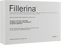 Profumi e cosmetici Trattamento dermocosmetico, livello 1 - Fillerina Dermo-Cosmetic Filler Treatment Grade 1 (gel/30ml + cr/30ml + applicator/2szt)