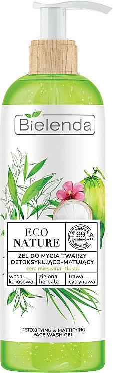 Gel detergente viso - Bielenda Eco Nature Coconut Water Green Tea & Lemongrass Detox & Mattifyng Face Wash Gel