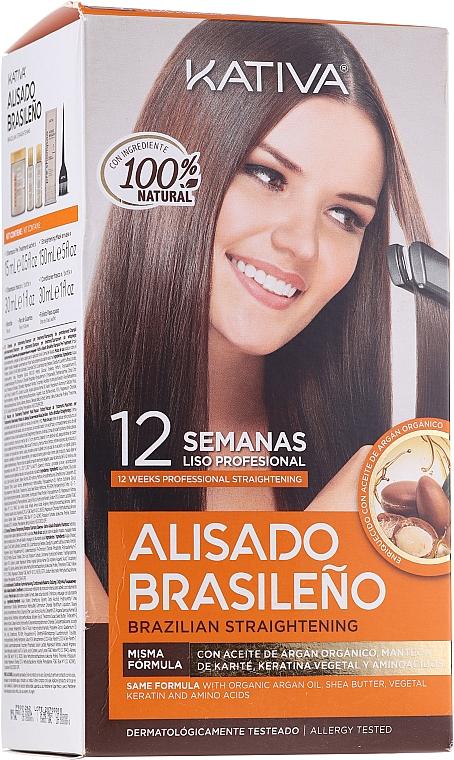 Set alla cheratina per lisciare i capelli - Kativa Alisado Brasileno Con Glyoxylic & Keratina Vegetal Kit (shm/15ml + mask/150ml + shm/30ml + cond/30ml)