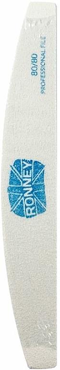 Lima per unghie, 80/80, bianca, mezzaluna - Ronney Professional