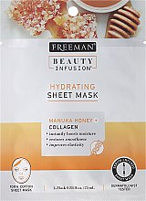 Profumi e cosmetici Maschera viso in tessuto - Freeman Beauty Infusion Hydrating Cream Mask Manuka Honey + Collagen