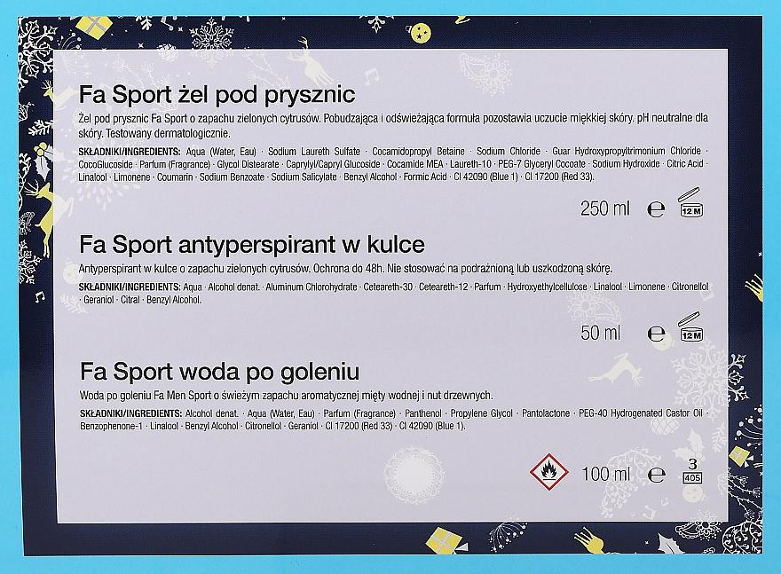 Set - Fa Men Sport (sh/gel/250ml + deo/roll/50ml + ash/lot/100ml + bag) — foto N4