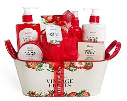 Profumi e cosmetici Set - IDC Institute Vintage Fruits (sh/g/250ml+b/lot/250ml+b/scrub/120ml+salt/100g+spray/100ml+soap/100g+sponge+basket)