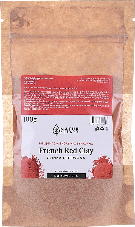 Maschera viso - Natur Planet French Red Clay